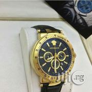 Gianni Versace Chronograph Genuine Leather Strap Watch   Watches for sale in Lagos State
