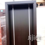 A Solid Hdf Door With Frame, Design With Allumilum Crome | Doors for sale in Lagos State, Mushin