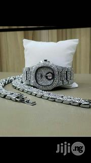 Patek Philipp Iced Out Sliver With Ciban Hand Chain | Watches for sale in Lagos State, Ikeja