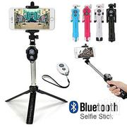 Selfie Stick Foldable Tripod 3 In 1 Universal Romote Bluetooth Stick | Accessories for Mobile Phones & Tablets for sale in Lagos State, Ikeja