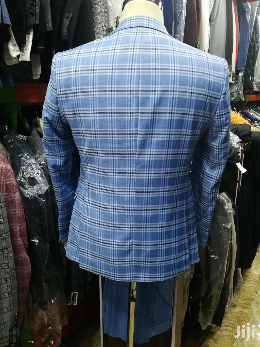 Skyblue Check Ado De Rossi 3piece Turkish Brands Men's Suits | Clothing for sale in Lagos Island, Lagos State, Nigeria