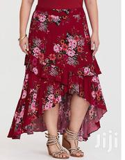 Red Floral Hi-Lo Gauze Skirt   Clothing for sale in Lagos State, Ikeja