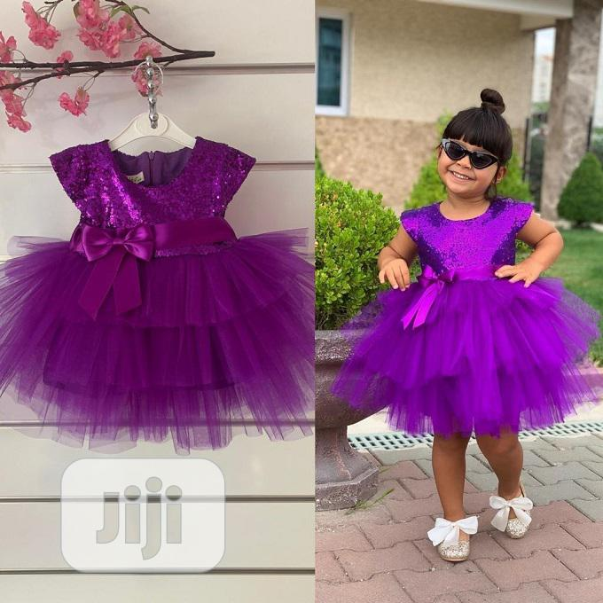 Turkey Girls Cute Ball Gown Dress Purple 3-6yrs | Children's Clothing for sale in Isolo, Lagos State, Nigeria