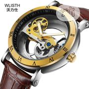 Genuine Leather Mechanical Waterproof Hollow Cool Wrist Watch   Watches for sale in Lagos State, Surulere