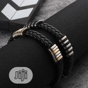 Men's Stainless Steel Leather Bracelet Jewelry For Men(Cones In A Box) | Jewelry for sale in Lagos State, Victoria Island