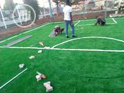 Fake Green Grass Installation For Mini Handball Pitch Installation | Landscaping & Gardening Services for sale in Lagos State, Ikeja