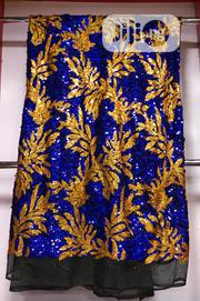 Royal Blue Nd Yellow Sequence Net Lace | Clothing for sale in Lagos State, Ojo