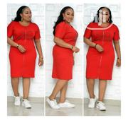 Quality Ladies Turkey Red Front Zip Short Gown | Clothing for sale in Lagos State, Amuwo-Odofin