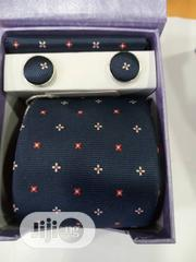 Set Of Designers Tie With Cufflinks In Blue With Dots | Clothing Accessories for sale in Lagos State, Lagos Island