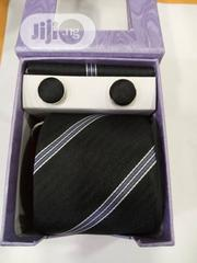 Set Of Black With Stripes Designers Tie With Cufflinks | Clothing Accessories for sale in Lagos State, Lagos Island