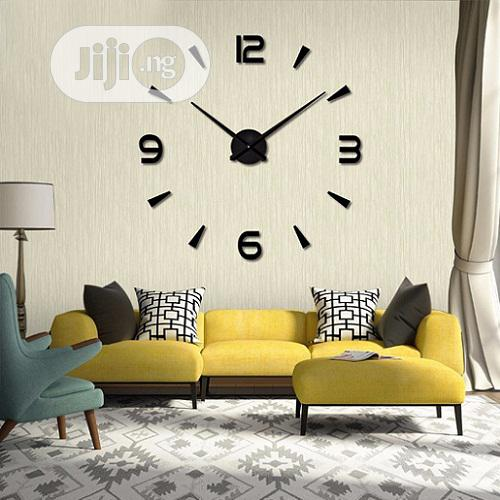 Large DIY 3D Design Wall Clock- Black | Home Accessories for sale in Magodo, Lagos State, Nigeria