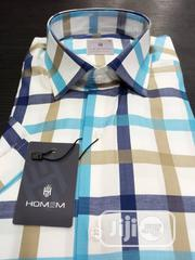 HOMEM Cutton Short Sleeves Shirts Check Pattern. Made in Turkey | Clothing for sale in Lagos State, Lagos Island