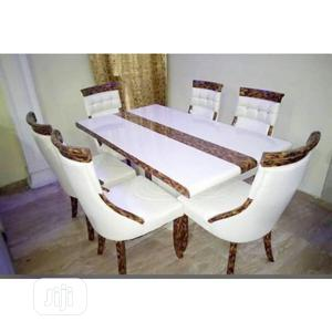 Set of Marble Dining Table With Six Chairs