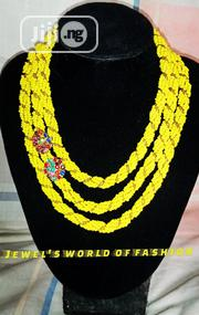 Yellow And Gold Beaded Necklace | Jewelry for sale in Lagos State, Ikeja