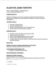 Management CV | Management CVs for sale in Oyo State, Ibadan
