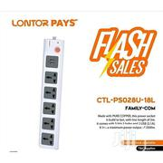 Lontor 2500W 5-way Extension Socket + 2 USB 2.1A Ports | Electrical Tools for sale in Oyo State, Ibadan