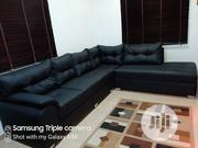 Black Leather L Shaped Sofa | Furniture for sale in Lagos State, Ajah