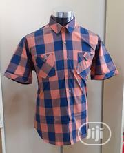 Men's Padded Short Sleeve Shirt Peach and Blue -15% Discount | Clothing for sale in Lagos State, Ajah